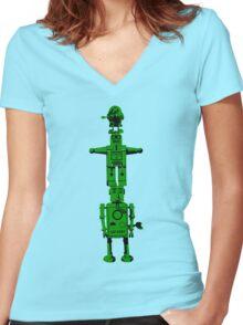 Robot Totem - BiLevel Green Women's Fitted V-Neck T-Shirt