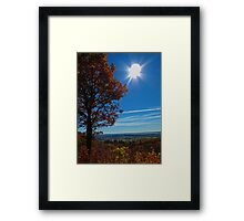 Rural Fall Landscape ~ Silhouette of a Single Tree bathed in Sun Rays on Hill Framed Print