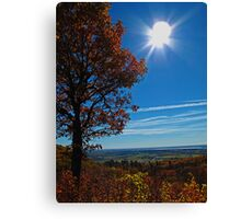 Rural Fall Landscape ~ Silhouette of a Single Tree bathed in Sun Rays on Hill Canvas Print