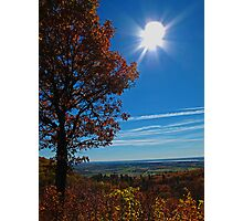 Rural Fall Landscape ~ Silhouette of a Single Tree bathed in Sun Rays on Hill Photographic Print