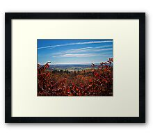 Fall Autumn Countryside viewed through a Red Leaf Bush under a Blue Sky Framed Print