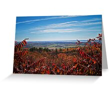 Fall Autumn Countryside viewed through a Red Leaf Bush under a Blue Sky Greeting Card
