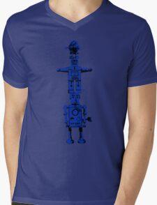 Robot Totem - BiLevel Blue Mens V-Neck T-Shirt