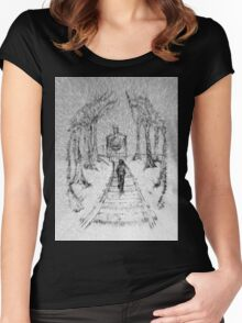 Wooden Railway , Pencil illustration railroad train tracks in woods, Black & White drawing Landscape Nature Surreal Scene Women's Fitted Scoop T-Shirt
