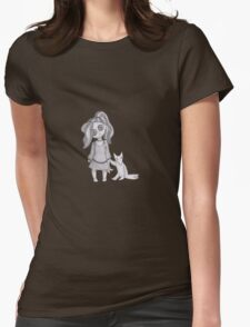 button girl and plushie  Womens Fitted T-Shirt