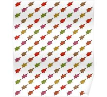 Autumn leaves pattern -white- Poster