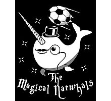 The Magical Narwhals Soccer Club Logo -White on Dark Photographic Print