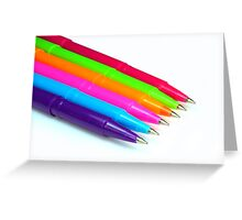 Multicolor pens on white background. Greeting Card