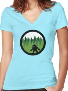 Sasquatch By Day - Noirgraphic Original Women's Fitted V-Neck T-Shirt