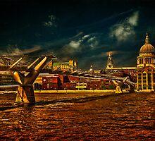 The Millennium Bridge & St Paul's Cathedral, London by LudaNayvelt