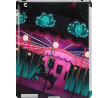 Pink and Purple Carnival, Oil Painting of Carousel, horse and faces iPad Case/Skin