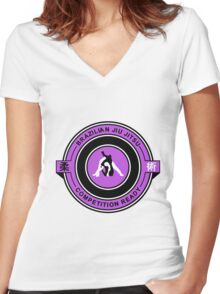 Brazilian Jiu Jitsu Competition Ready Triangle Choke Purple  Women's Fitted V-Neck T-Shirt