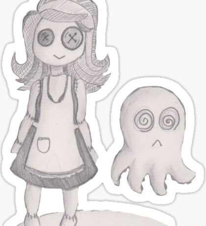 button girl and tenta-ghost Sticker