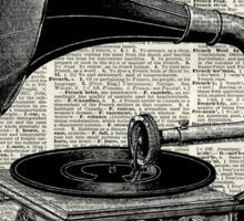 Vintage Gramophone Record Player Dictionary Art Sticker