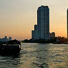 Sunset, Chao Phraya river, Bangkok, Thailand by johnrf