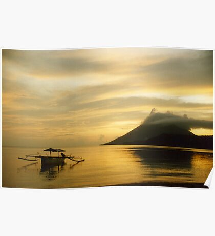 Volcano and Sea, Golden Sunset, Pulau Bunaken, North Sulawesi, Indonesia Poster
