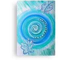 Mandala Art : Blue Butterflies Canvas Print