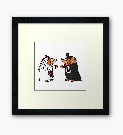Cool Funky Hedgehog Bride and Groom Wedding Art Framed Print