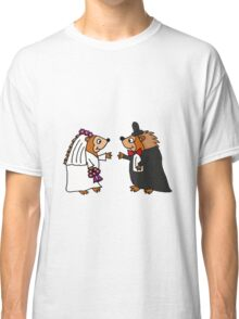 Cool Funky Hedgehog Bride and Groom Wedding Art Classic T-Shirt