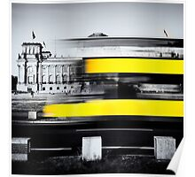 Berlin Reichstag buildung with yellow double-decker bus Poster