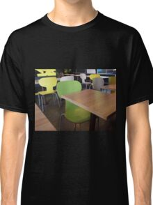 Wooden tables and chairs with furiture in restaurant  Classic T-Shirt