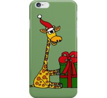 Cool Funny Giraffe Opening Christmas Package iPhone Case/Skin