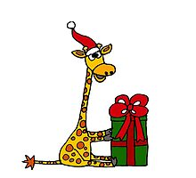 Cool Funny Giraffe Opening Christmas Package by naturesfancy