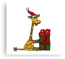 Cool Funny Giraffe Opening Christmas Package Canvas Print