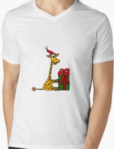 Cool Funny Giraffe Opening Christmas Package Mens V-Neck T-Shirt