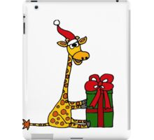 Cool Funny Giraffe Opening Christmas Package iPad Case/Skin