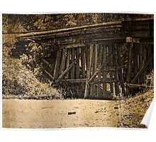 Rustic, Wooden Railroad Bridge, Grunge Poster