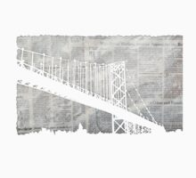 Paper City , Newspaper Bridge Collage,  cutout black white print illustration  by IrenesGoodies