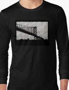 News Feed , Newspaper Bridge Collage, night cityscape cutout, black white city print illustration  Long Sleeve T-Shirt