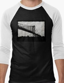 News Feed , Newspaper Bridge Collage, night cityscape cutout, black white city print illustration  Men's Baseball ¾ T-Shirt
