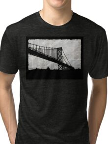 News Feed , Newspaper Bridge Collage, night cityscape cutout, black white city print illustration  Tri-blend T-Shirt