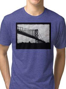 News Feed , Newspaper Bridge Collage, night cityscape cutout, black white city print illustration  Tri-blend T-Shirt