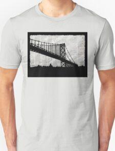 News Feed , Newspaper Bridge Collage, night cityscape cutout, black white city print illustration  T-Shirt