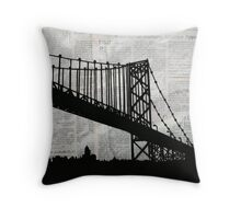 News Feed , Newspaper Bridge Collage, night cityscape cutout, black white city print illustration  Throw Pillow