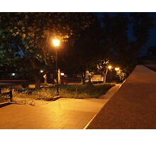 Bright street lights and staircase of granite Photographic Print