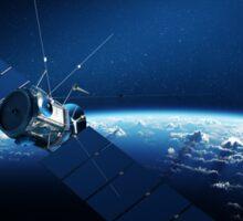 Communications satellite orbiting earth Sticker