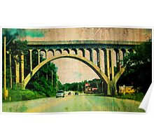 Kansas City Southern Concrete Railroad Bridge, Grunge, Vintage Style Poster