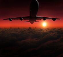 Airplane in the sky at sunset by Atanas Bozhikov Nasko