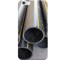 Black PVC tube closeup on the street iPhone Case/Skin