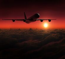Airplane in the sky at sunset by Digital Editor .