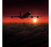 Airplane in the sky at sunset Photographic Print