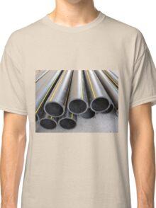 Black PVC tube closeup on the street Classic T-Shirt