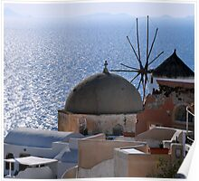 Windmill and Sea, Santorini Greece Poster