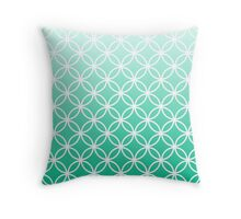 Mint Ombre Lattice Circles Throw Pillow