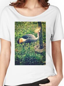 Gray Crowned Crane, Vintage Style Photo Women's Relaxed Fit T-Shirt