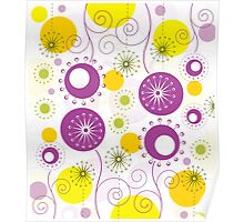 Cute Colorful Abstract Flowers Poster